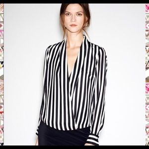 Zara Black & White Striped Faux Wrap Blouse